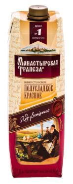 Вино столовое Монастырская Трапеза полусладкое красное