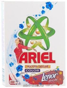 Стиральный порошок Ariel Чистота Deluxe Color Lenor автомат 450г