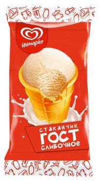 Мороженое Инмарко Гост сливочное мороженое в вафельном стаканчике 69 гр
