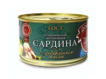 Сардина Донская Кухня атлантическая в масле , 240 гр, ж/б