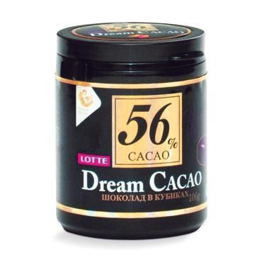 Шоколад горький 56% в кубиках, Lotte Drem Cacao, , Lotte, 106 гр., ПЭТ