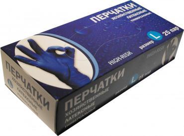 Перчатки латекс прочные синие High Risk размер L 50шт., ZKS, 100 гр., картонная коробка