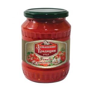 Томаты неочищенные в томатной заливке, Домашние Традиции, 720 гр., стекло