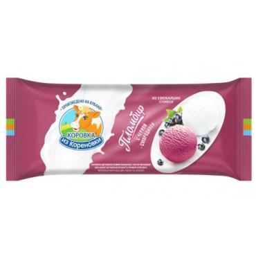 Мороженое Полено пломбир двухслойное ванильное с черной смородиной, Коровка из Кореновки, 400 гр., флоу-пак