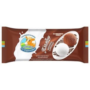 Мороженое Полено пломбир двухслойное шоколад/ваниль, Коровка из Кореновки, 400 гр., флоу-пак