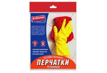 Перчатки хозяйственные резиновые 1пара, размер S, желтые, Avikomp 62 гр., пластиковый пакет