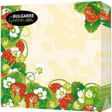 Салфетки бумажные двухслойные 24х24 50 штук Bulgaree Green Земляника, пластиковый пакет