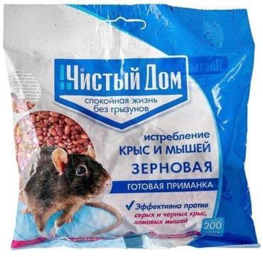 Зерновая приманка от крыс и мышей, Чистый дом, Форэт 200 гр., пластиковый пакет
