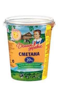 Сметана 20% Домик в деревне, 300 гр., пластиковый стакан