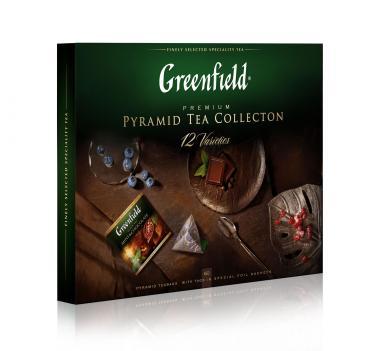 Чай набор 12 видов, 60 пак., Greenfield Pyramid tea Collection, 110 гр., картонная коробка
