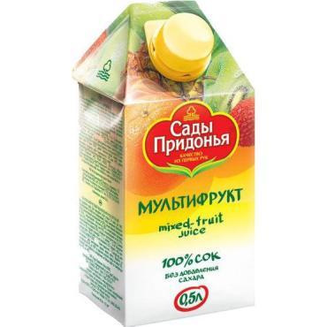 Сок мультифрукт с мякотью Сады Придонья, 500 мл., тетра-пак