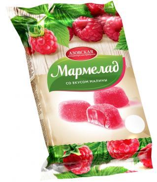 Мармелад желейный со вкусом Малины, Азовская кондитерская фабрика, 300 гр., флоу-пак