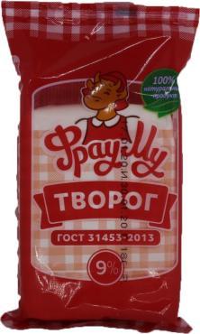 Творог Домашний 9% ТУ БЗМЖ, Фрау Му, 450 гр., флоу-пак