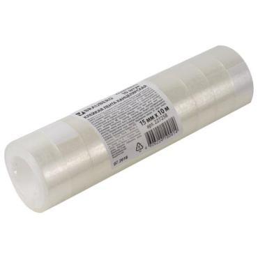 Клейкие ленты 15 мм х 10 м канцелярские комплект 10 шт., прозрачные, гарантированная длина, Brauberg