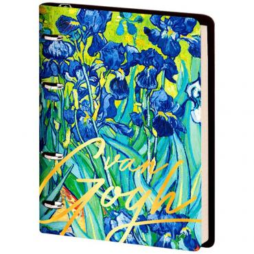 Тетрадь на кольцах А5, 80л. ЛАЙТ, кожзам, Greenwich Line Vision. Van Gogh. Irises, тон. блок