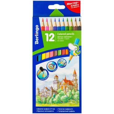 Карандаши цветные Berlingo Замки, 12цв., заточен., картон, европодвес