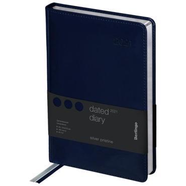 Ежедневник датированный 2021г., А5, 184л., кожзам, Berlingo Silver Pristine, сер. срез, синий