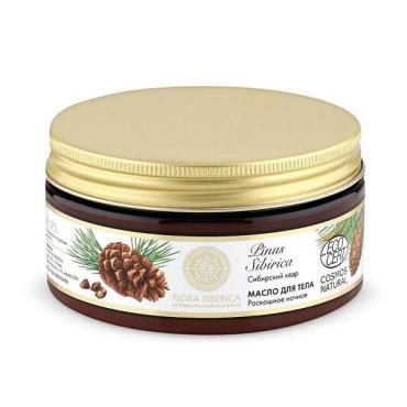 Масло для тела, роскошное ночное сибирский кедр Natura Siberica Flora, 300 мл., Пластиковая банка