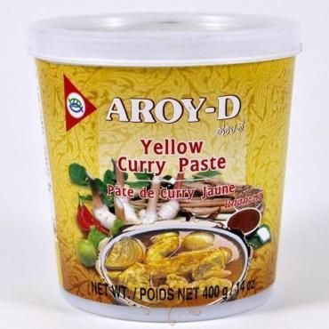 Паста Карри желтая Aroy-D, 400 гр., пластиковая банка