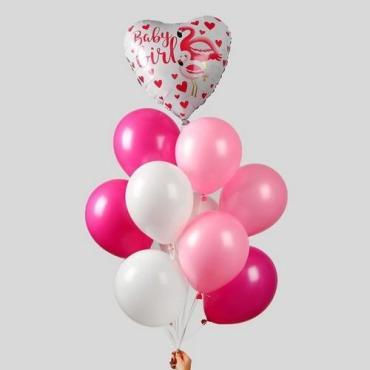 Букет из шаров 10 шт., Страна Карнавалия Розовый фламинго, Пластиковый пакет