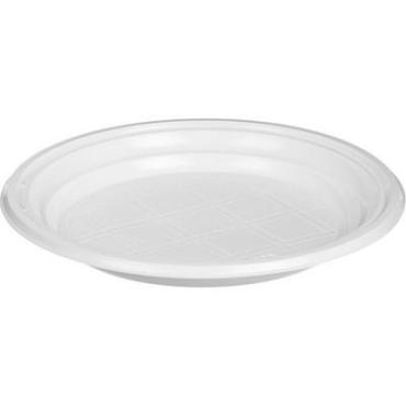 Тарелка 1-секционная белая Р, 100 шт., пластиковый пакет
