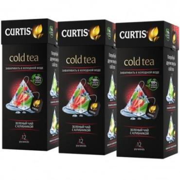 Чай зеленый 12 пирамидок х 3 упаковки Curtis Cold Tea. Зеленый чай с клубникой, 64 гр., картонная коробка
