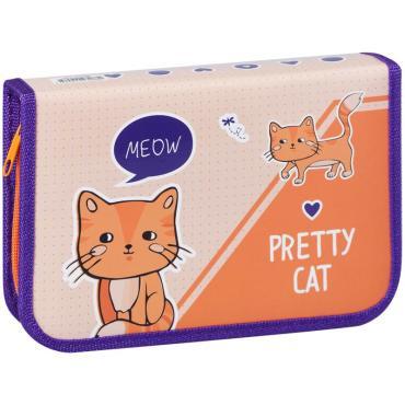 Пенал 1 отделение, 200*130 ArtSpace Pretty cats, две откидные секции, ламинированный картон