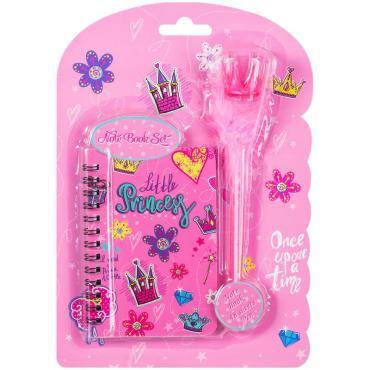 Записная книжка А7 48л. ArtSpace Little princess на гребне +ручка шарик. с помпоном, подар.уп.