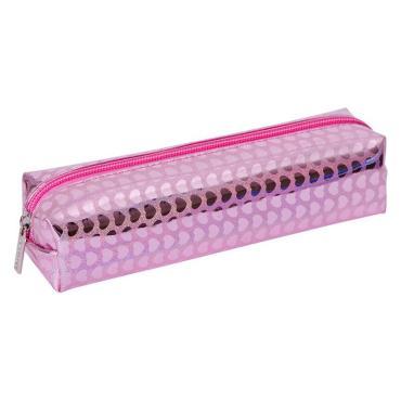 Пенал-косметичка 200*50*55 Berlingo Metallic pink, голографический ПВХ