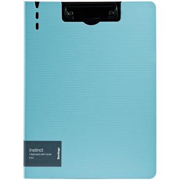 Папка-планшет с зажимом Berlingo Instinct A4, пластик (полифом), аквамарин/черный