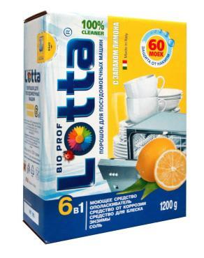 Порошок для посудомоечных машин 6 в 1, с запахом лимона, Lotta, 1,2 кг., картонная коробка