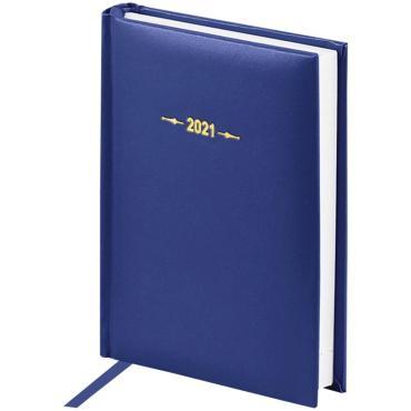 Ежедневник датированный 2021г., A6, 176л., балакрон, OfficeSpace  Ariane, синий
