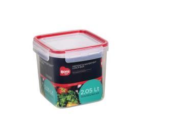 Контейнер пищевой квадратный 2,05 л., 150х150х145 мм., с крышкой на защелках, пластик, Bora