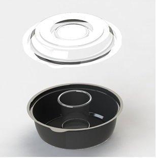 Контейнер для салатов круглый черный 450 мл, d=160 мм, ПС, в комплекте с соусником ПП, Кадо-Прим, 400 шт/уп
