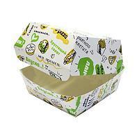 Коробка для бургера с печатью 120х120х100 мм, FOODкорт, 250 шт/уп