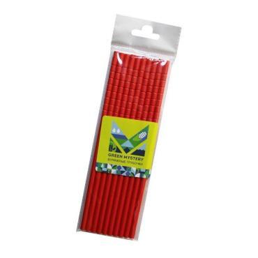 Трубочки бумажные с изгибом, цвет красный, d=6 мм., L= 195 мм., европодвес, 10 шт., Red, Green Mystery, пластиковый пакет