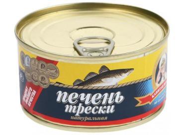 Печень трески натуральная 190, Россия, 190 гр., жестяная банка