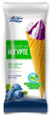 Мороженое рожок на йогурте черника 15%, Ангария, 130 гр., флоу-пак