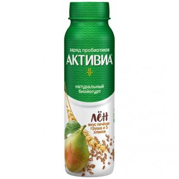 Йогурт питьевой вкус печеная груша и 5 злаков, Активиа, 260 гр, ПЭТ