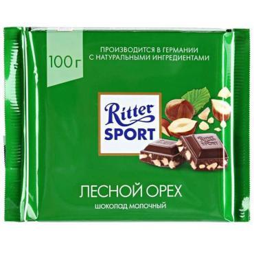 Шоколад темный с цельным лесным орехом, , Ritter Sport, 100 гр., флоу-пак