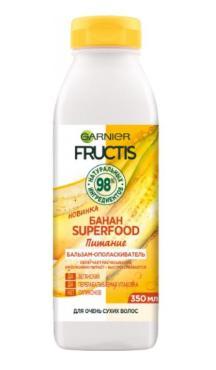 Бальзам-ополаскиватель для очень сухих волос Garnier Fructis Superfood Банан, 350 мл., пластиковая бутылка