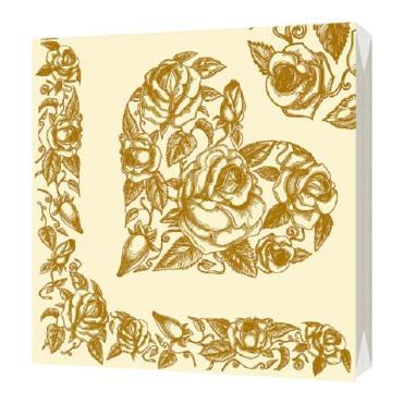 Салфетки бумажные 33х33см 3сл 20шт Bulgaree Green Золотое сердце, 125 гр., пластиковый пакет