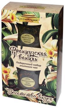 Чай Мол.оолонг+черный со вкусом карамели и черный Конфуций Богатство вкуса 100 гр., картонная коробка
