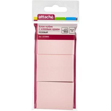 Блок-кубик ATTACHE с клеев.краем 38х51 розовый 100л. 3 шт/наб.