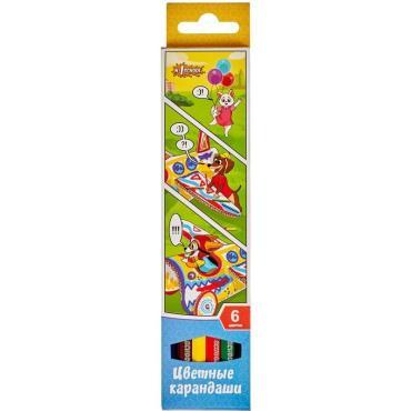 Карандаши цветные 6 цв 6-гран №1School Шустрики