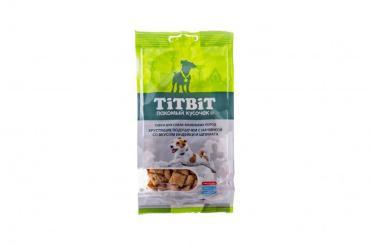 Хрустящие подушечки для собак маленьких пород с начинкой со вкусом индейки и шпината, 95 гр., флоу-пак