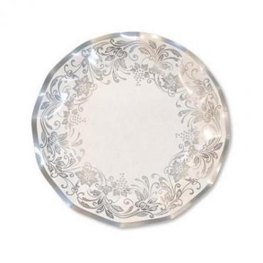 Тарелка одноразовая бумажная Extra Party Line Noblesse silver d=27 см., 8 штук