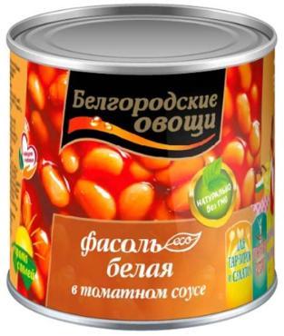Фасоль белая в томатном соусе, Белгородские овощи, 400 гр., жестяная банка