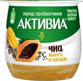 Биойогурт термостатный манго-папайя-чиа 2,4% Активиа 170 гр., пластиковый стакан