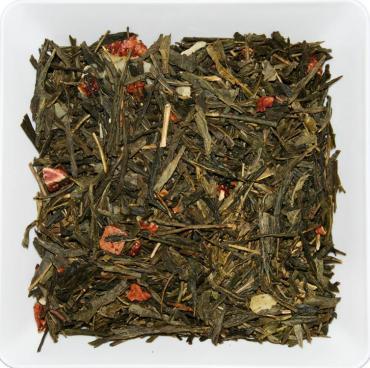 Чай зеленый сенча клубника со сливками ZellWell, 100 гр., пакет из триплекса
